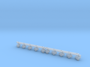 1:12 Track lighting 100mm 4pc in Smooth Fine Detail Plastic