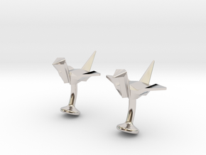 Origami Crane Cufflinks in Platinum