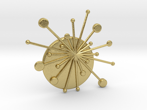 Atomic Starburst Tie Pin in Natural Brass
