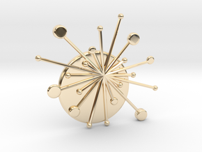 Atomic Starburst Tie Pin in 14k Gold Plated Brass