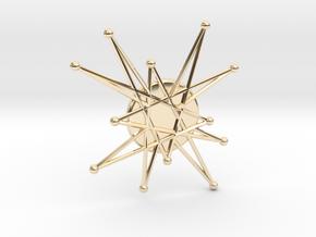 Atomic Starburst Tie Pin 2 in 14k Gold Plated Brass