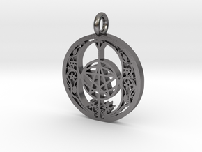 chalice well pentagrram in Polished Nickel Steel