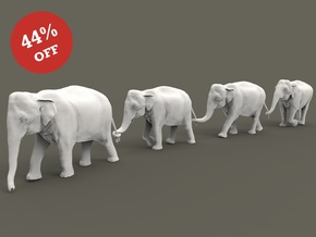 Indian Elephant Set 1:160 four different pieces in Smooth Fine Detail Plastic