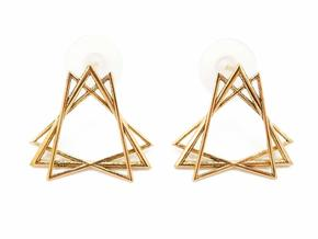 Sacred Creation Stud Earrings in Polished Brass
