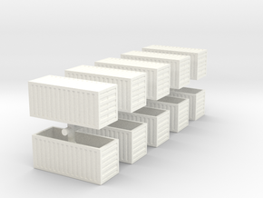 20 Foot Container, 10 pc (1:200 scale, hollow) in White Processed Versatile Plastic