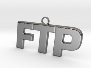 FTP Logo Pendant Fck The Population in Fine Detail Polished Silver
