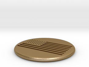 American Flag Golf Ball Marker in Polished Gold Steel