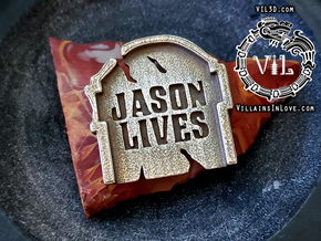 Jason LIVES Tombstone Pendant ⛧ VIL ⛧ in Polished Bronzed-Silver Steel: Small