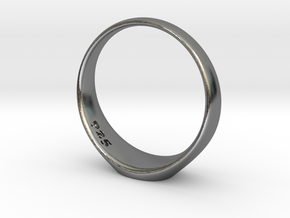 J-A-debossed 15.5mm french script small in Polished Silver
