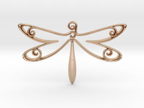 The Dragonfly Pendant in 14k Rose Gold Plated Brass