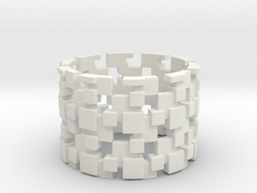 Borg Cube Ring Size 12 in White Natural Versatile Plastic
