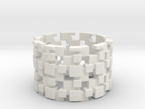 Borg Cube Ring Size 8 in White Natural Versatile Plastic