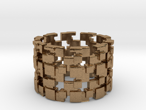 Borg Cube Ring Size 8 in Natural Brass