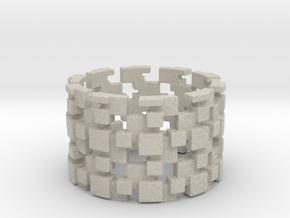 Borg Cube Ring Size 9 in Natural Sandstone