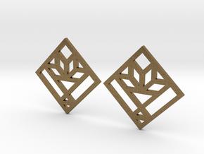 Cactus Basket Quilt Block Earrings - Dangle in Natural Bronze