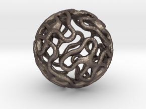 Gyroid Sphere Pendant in Polished Bronzed Silver Steel