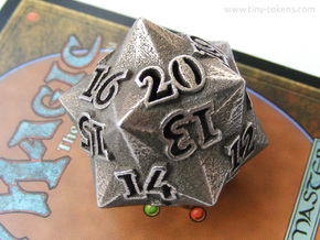 Faceted - Spindown d20 life counter dice in Polished Bronzed Silver Steel