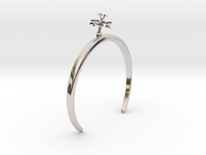 Chicory bracelet with one small flower in Rhodium Plated Brass: Medium