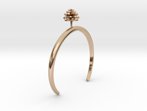Bracelet with one small flower of the Dhalia in 14k Rose Gold Plated Brass: Medium