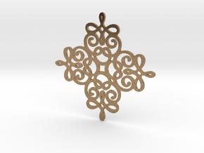 Quad Flourish Pendant in Natural Brass