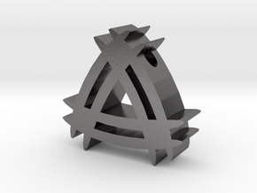 Tribal Symbol Slide Pendant with 3mm Diameter Hole in Polished Nickel Steel