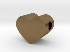 Small Simple Heart Slide Pendant - 1cm diameter in Natural Bronze