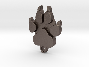 wolf paw flat one side in Polished Bronzed-Silver Steel