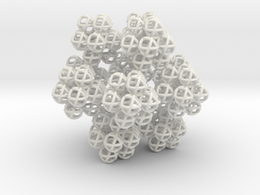 Fractal Cluster - Vector Equilibrium Genesa Sphere in White Natural Versatile Plastic