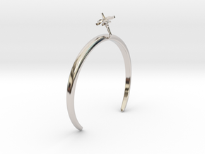 Tomato bracelet with one small flower in Rhodium Plated Brass: Medium