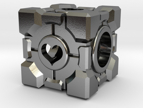 Companion Cube Bead (open hearts) in Polished Silver