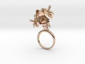 Amaryllis ring with four small flowers in 14k Rose Gold Plated Brass: 7.25 / 54.625