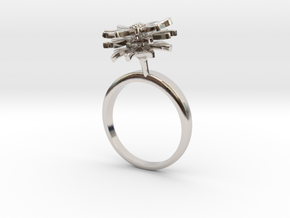 Daisy ring with one small flower in Rhodium Plated Brass: 7.25 / 54.625