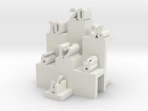 Numbered Dice Display in White Natural Versatile Plastic