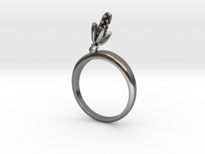 Hyacinth ring with one small flower in Polished Silver: 7.25 / 54.625