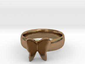 Butterfly Ring thiner band 20mm x 20mm in Natural Brass