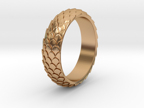 Dragon Scale Ring_A in Polished Bronze: 8 / 56.75