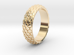 Dragon Scale Ring_B in 14k Gold Plated Brass: 5 / 49
