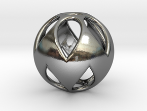Flower Sphere Pendant in Fine Detail Polished Silver