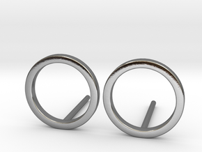 Circle Studs in Polished Silver