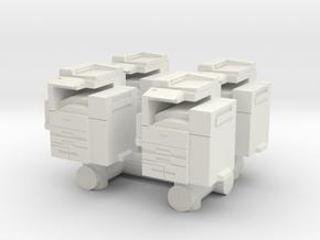 Office Printer (x4) 1/72 in White Natural Versatile Plastic