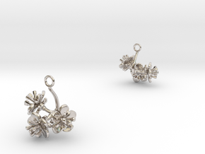 Peach earring with three small flowers in Rhodium Plated Brass