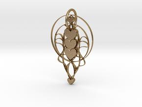 Trinity Heart Pendant in Polished Gold Steel: Medium