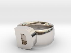 D Ring in Platinum