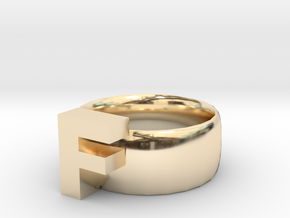F Ring in 14K Yellow Gold
