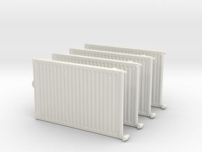 Wall Radiator Heater (x4) 1/56 in White Natural Versatile Plastic