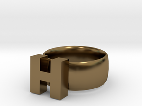 H Ring in Polished Bronze