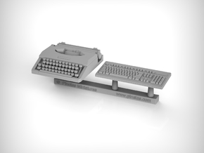 Typewriter and Keyboard. 1:20 Scale in Smooth Fine Detail Plastic