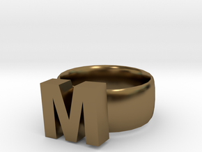 M Ring in Polished Bronze