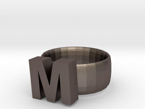 M Ring in Polished Bronzed Silver Steel