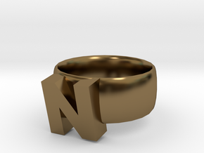 N Ring in Polished Bronze